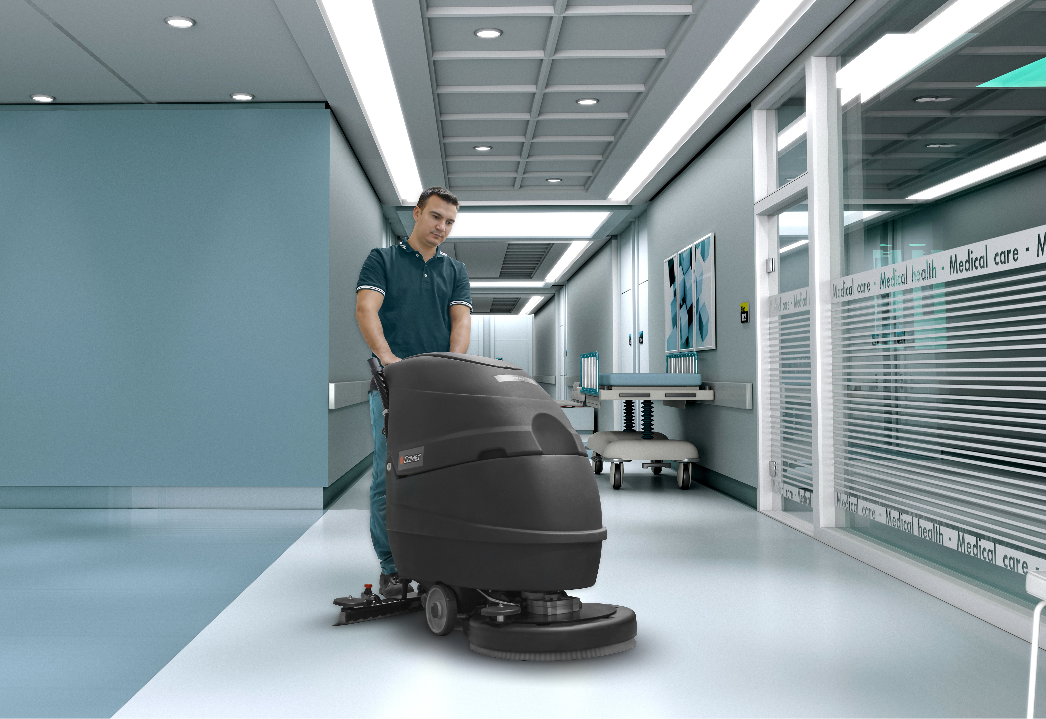 CLEAN AND SANITIZED HOSPITALS AND HEALTHCARE FACILITIES WITH THE FLOOR SCRUBBER DRYER